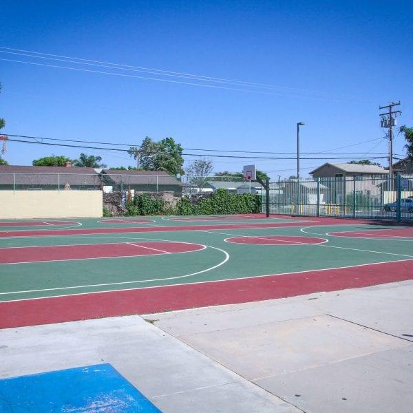 Two outdoor basketball courts