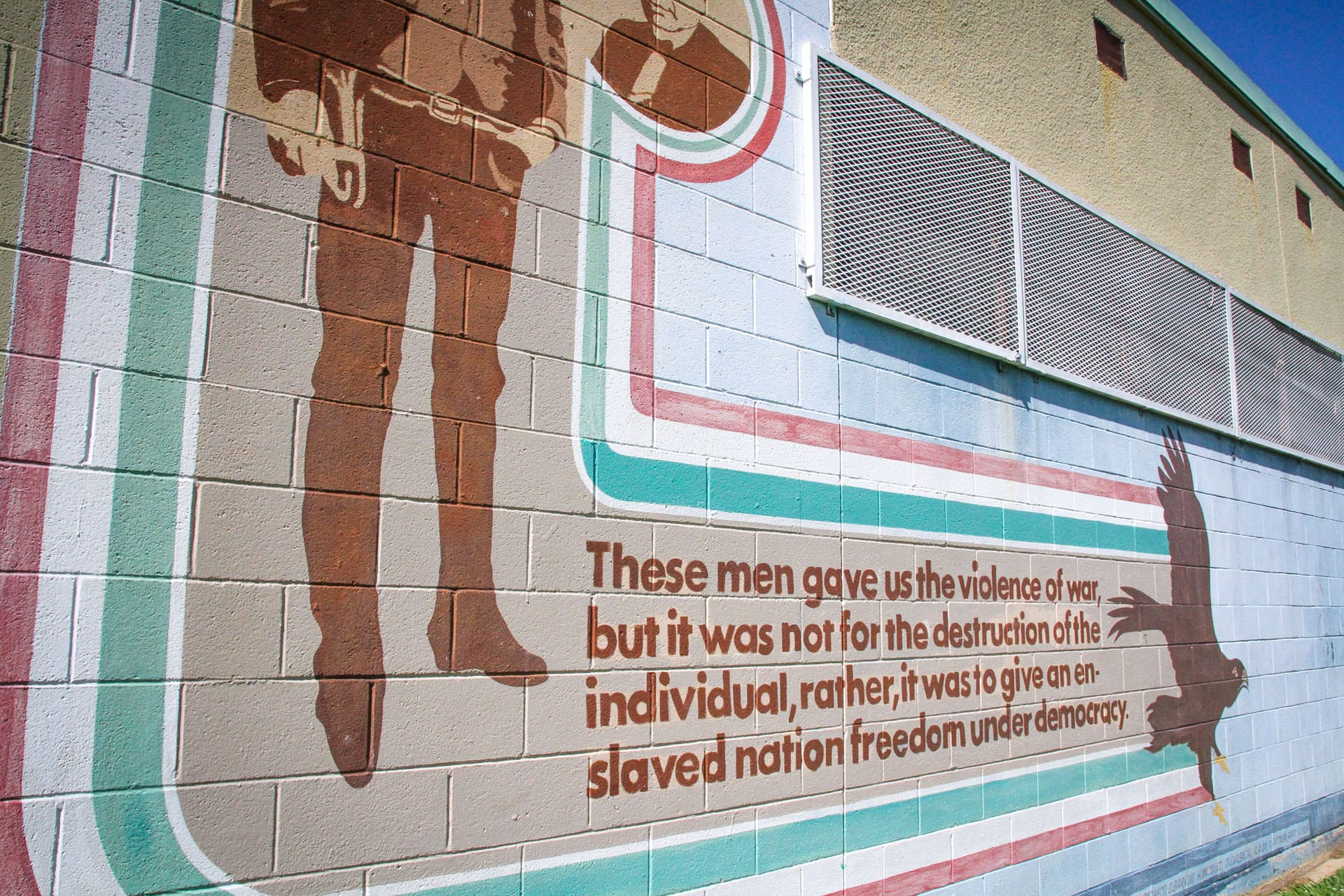 Close-up of mural on facility