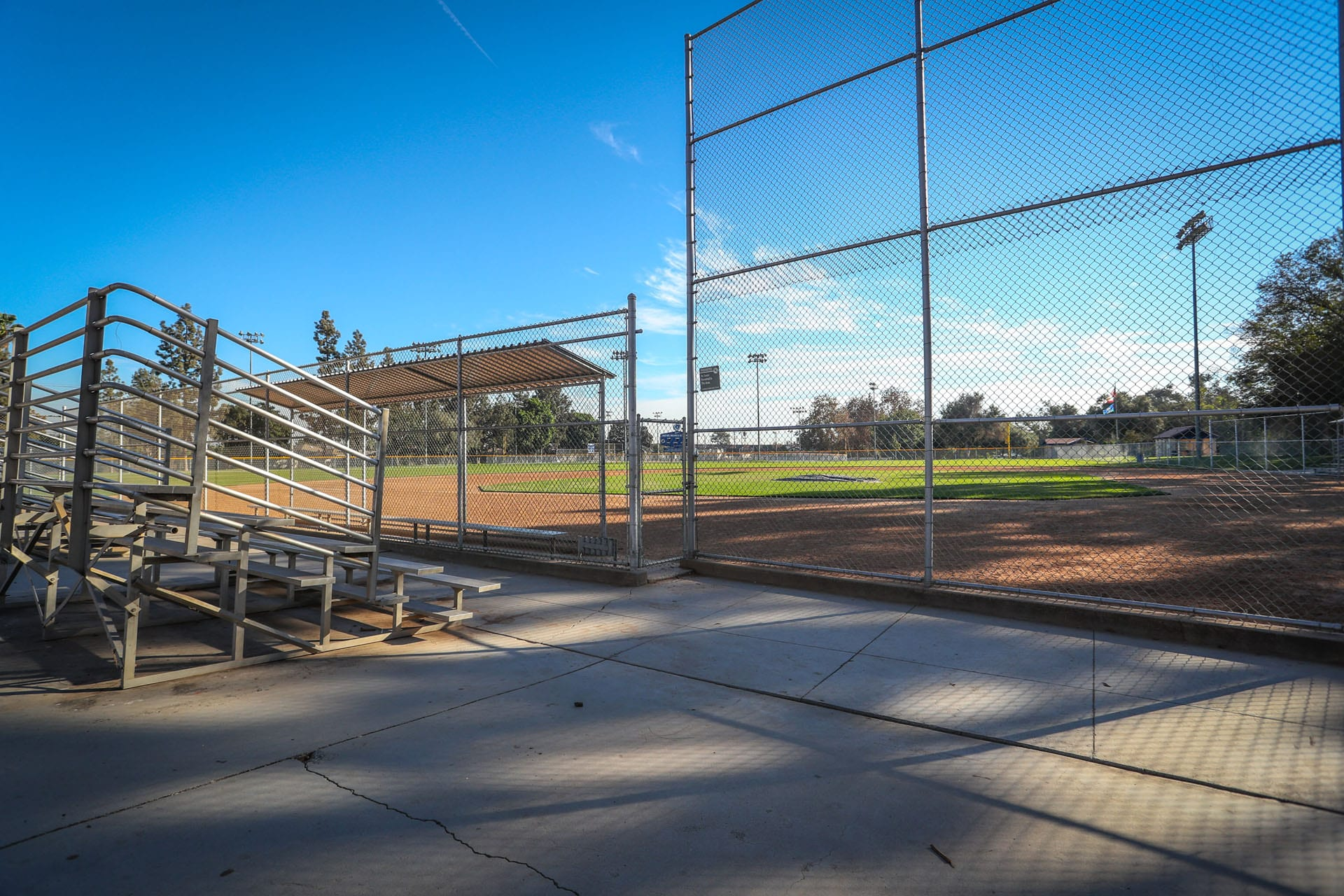 Bleacher to the side of the baseball field