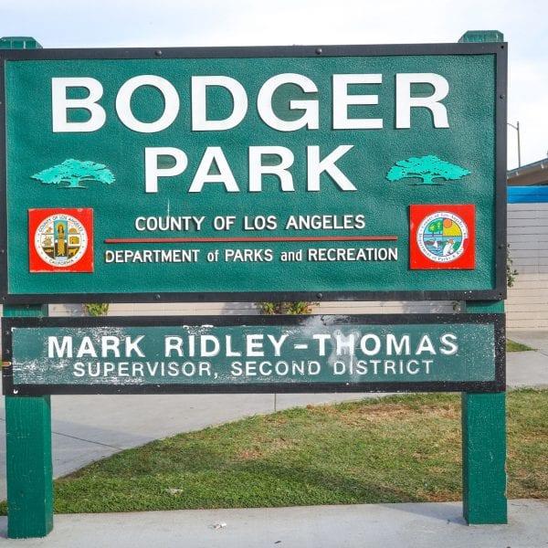 Bodger Park sign