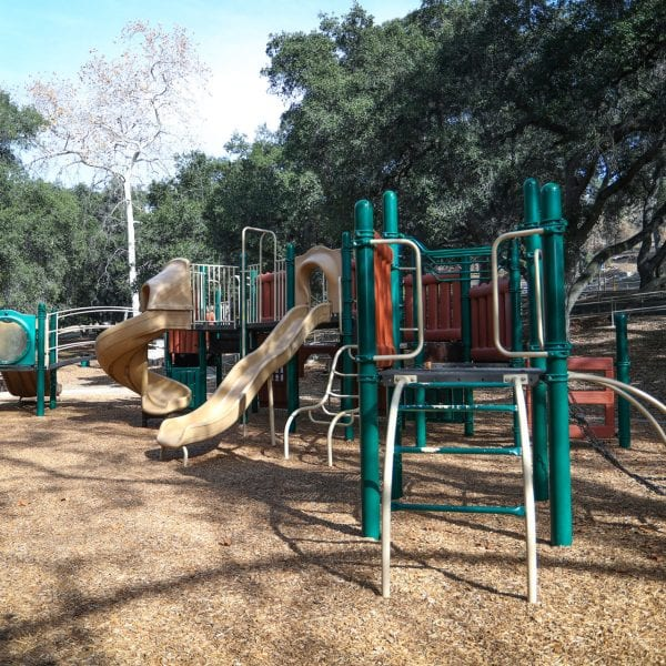 Playground on a wood chip bed