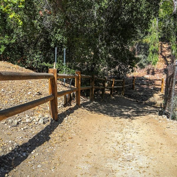 Loma Alta Park Trailhead with wooden fence