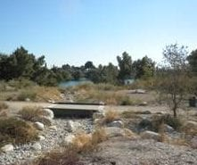 dirt park with small bridge over rocky basin