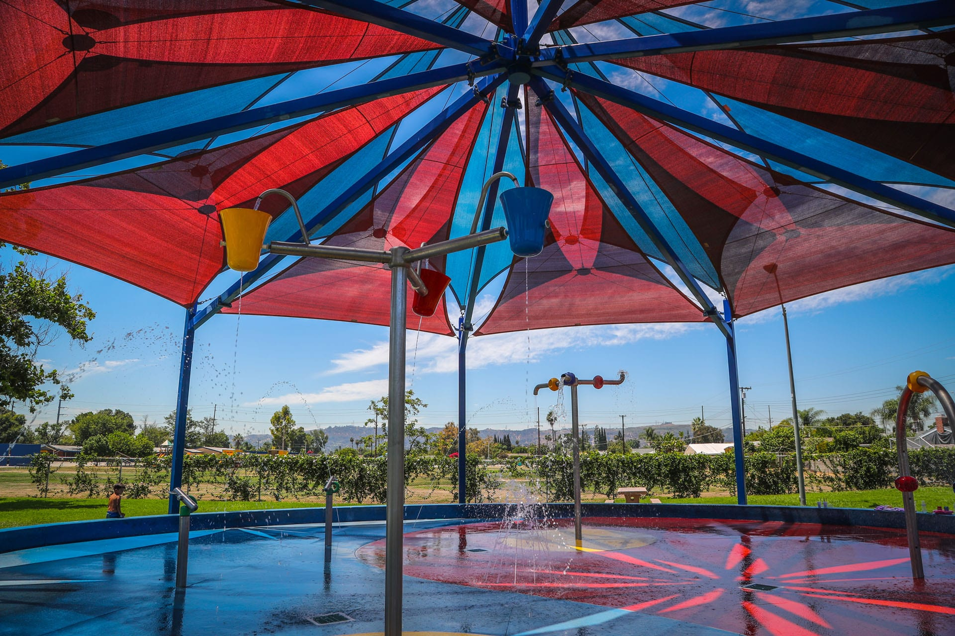 Tent over the splash pad