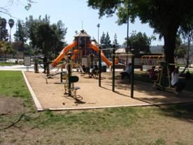 park with large orange playground