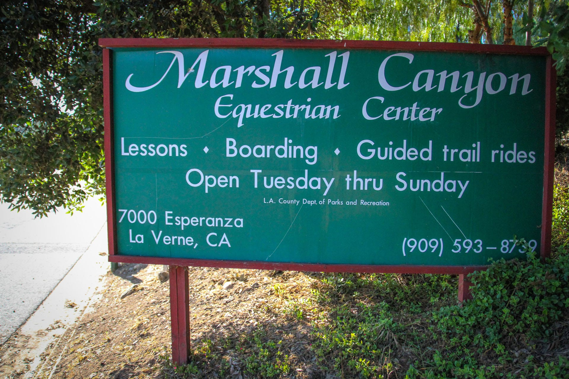 Marshall Canyon Equestrian Center Sign