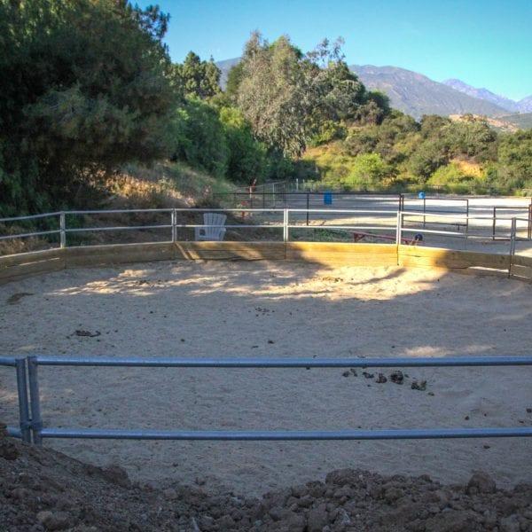 Fence around a horse training area