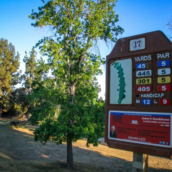 Golf course signage with map