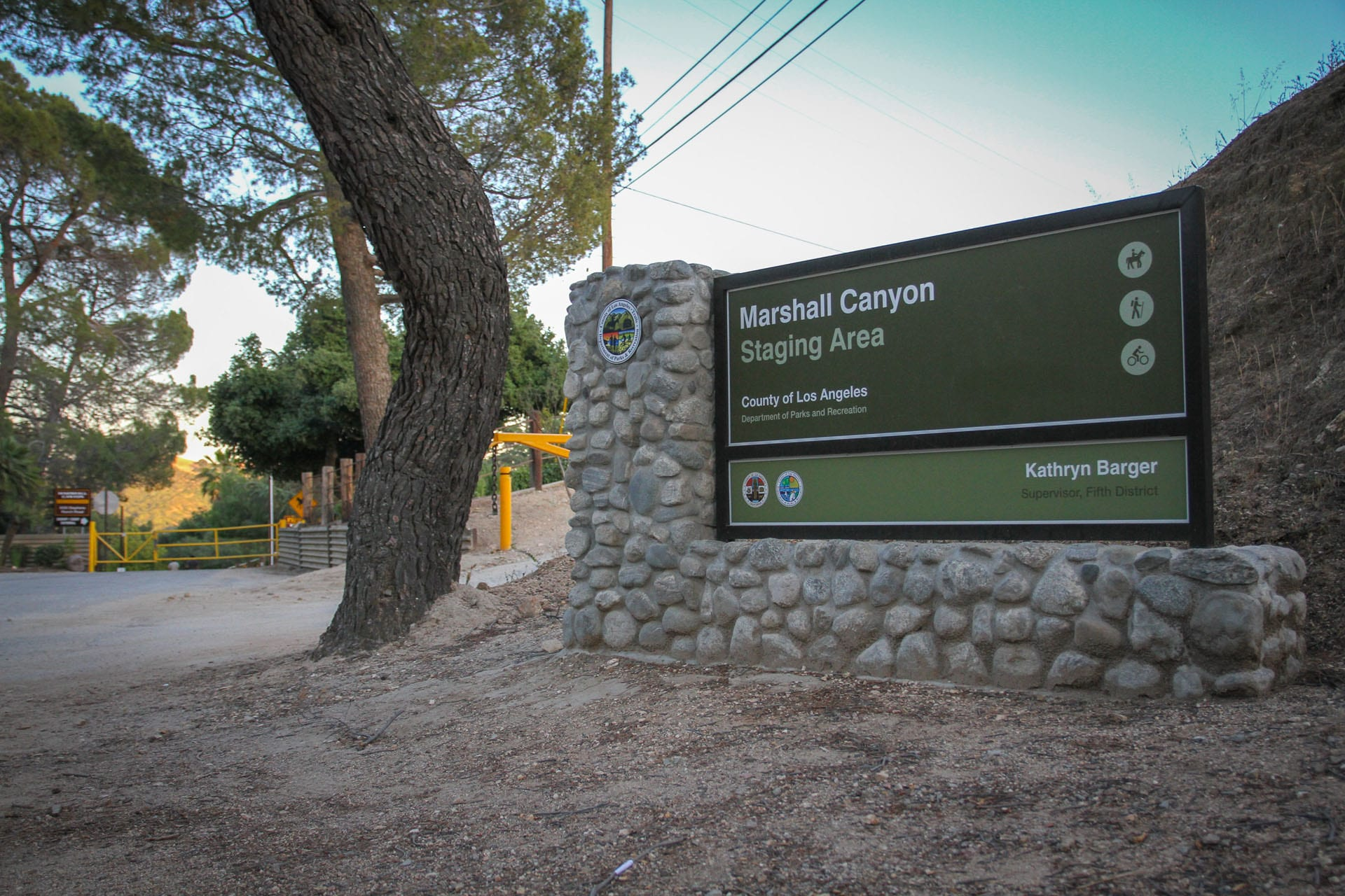 Marshall Canyon Staging Area sign