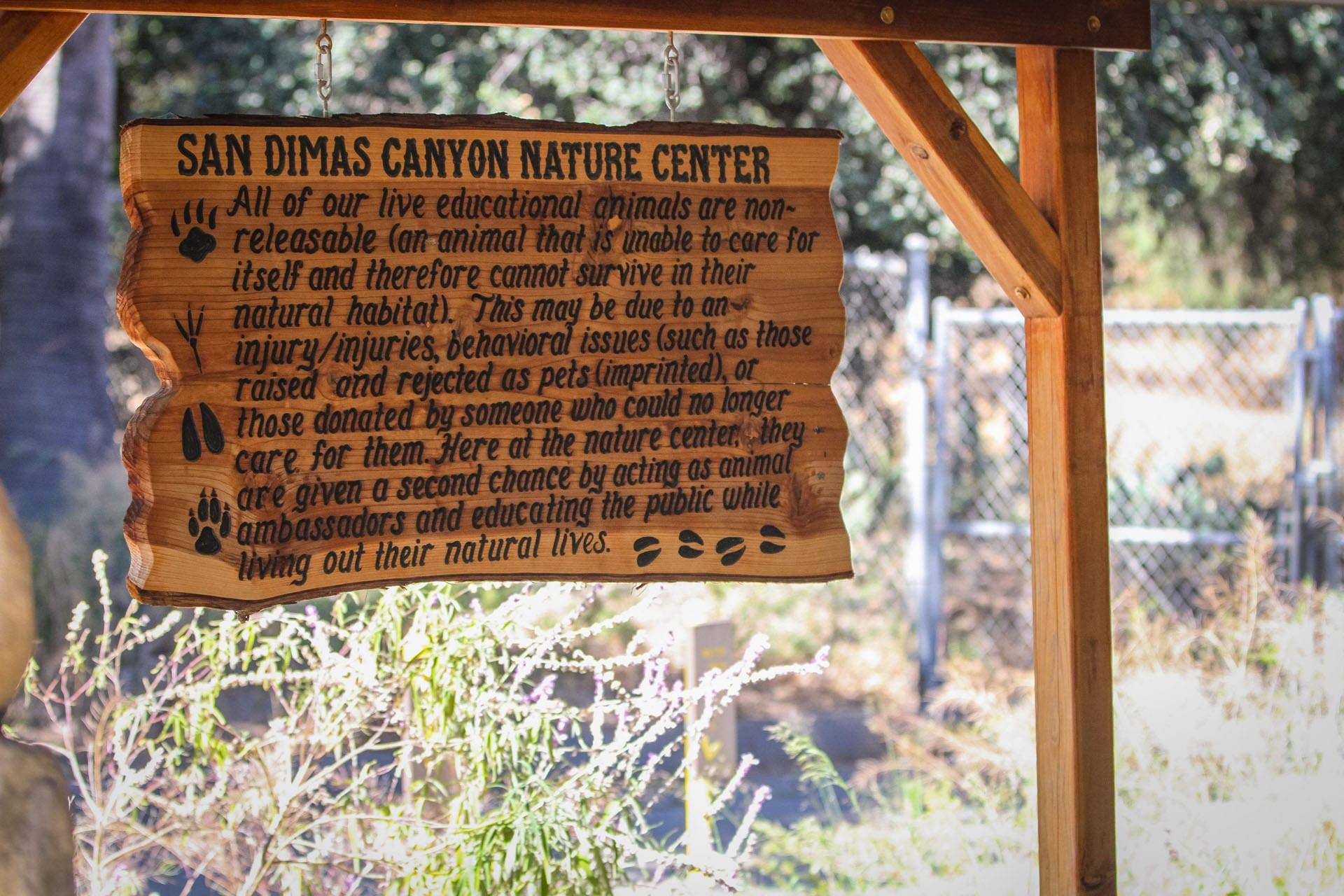 San Dimas Canyon Nature Center informational sign