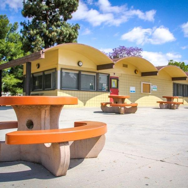 Picnic benches at a facility