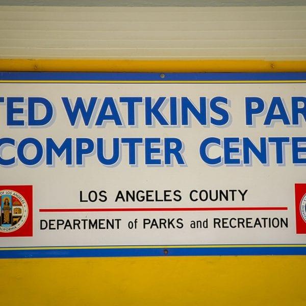 Ted Watkins Park Computer Center Sign