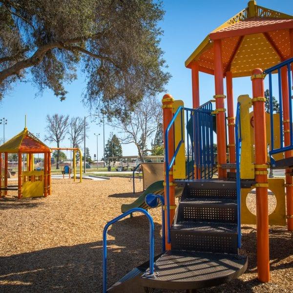 Playgrounds, gazebo and a swing set