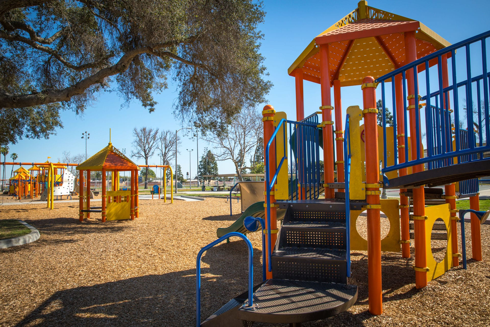 Playgrounds, gazebo and a swing set