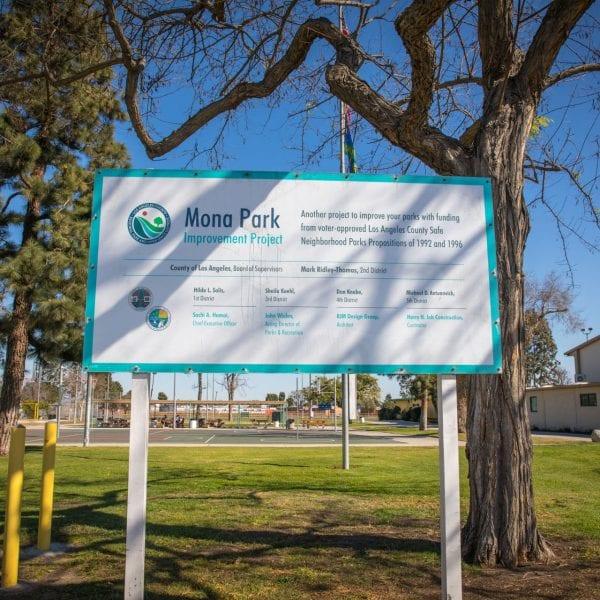 Mona Park Improvement Project sign