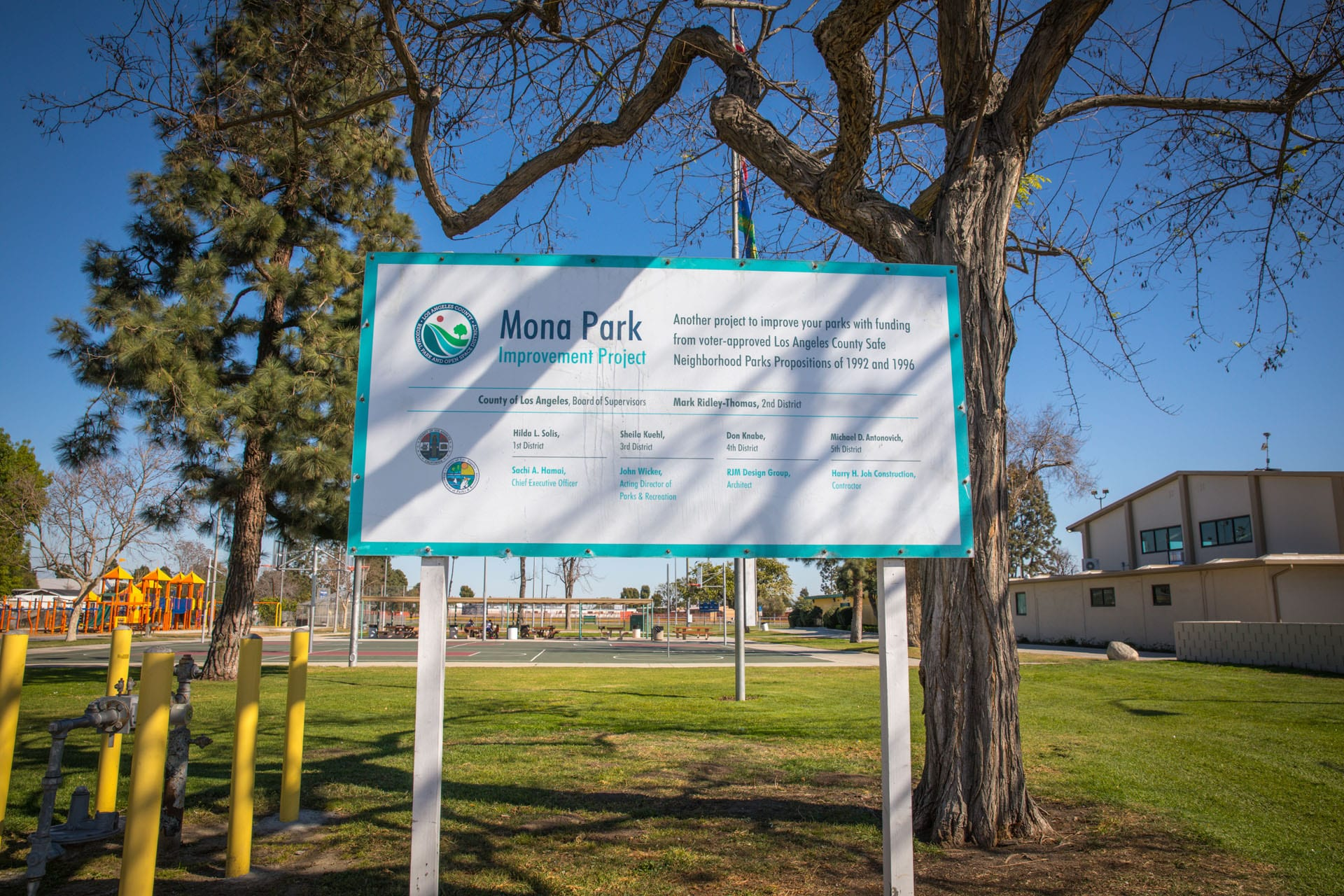 Mona Park Improvement Project sign