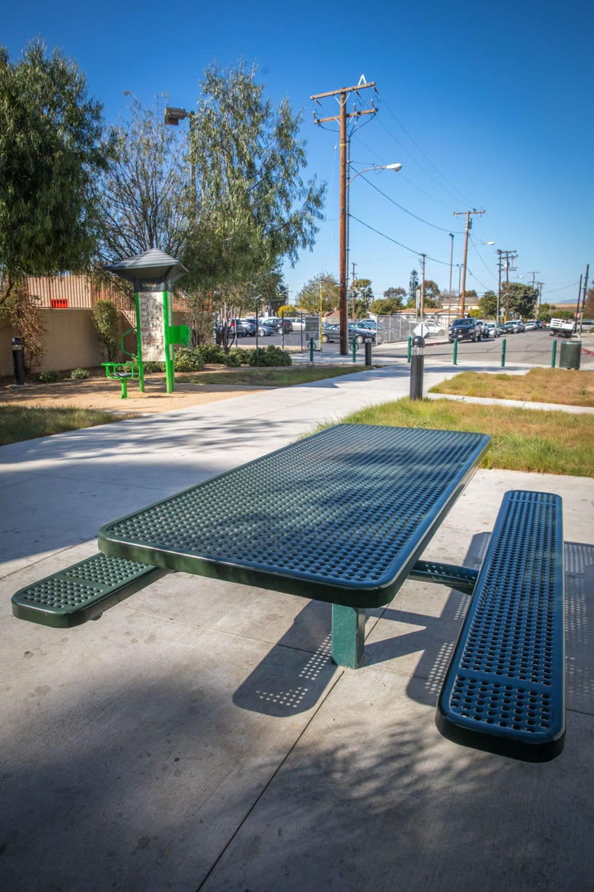 Picnic table next to walkway