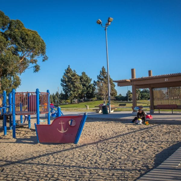 Playground in a sand turf