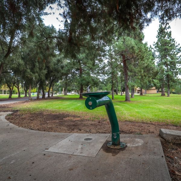 Drinking fountain aside paved path
