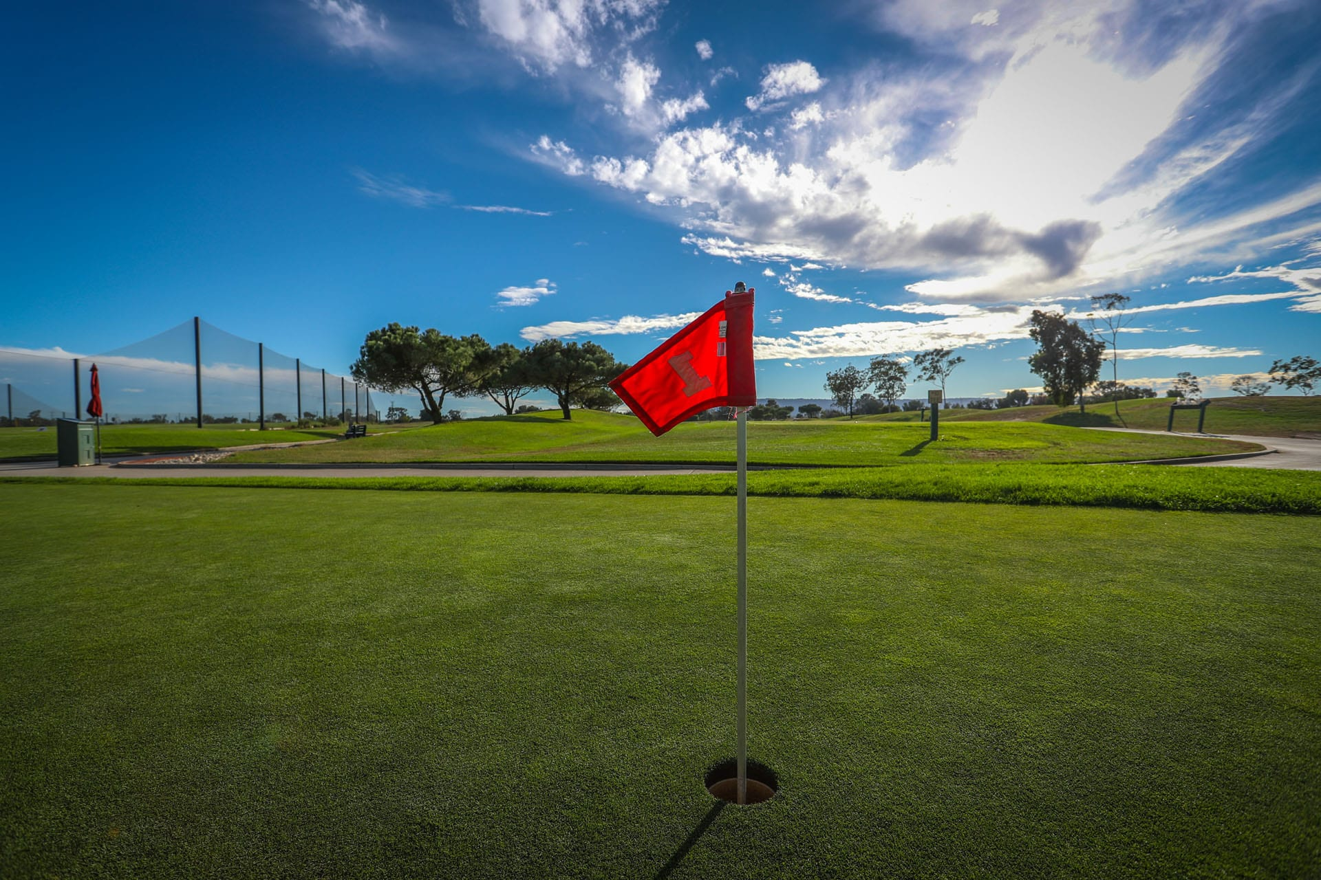 Hole 1 flag on green