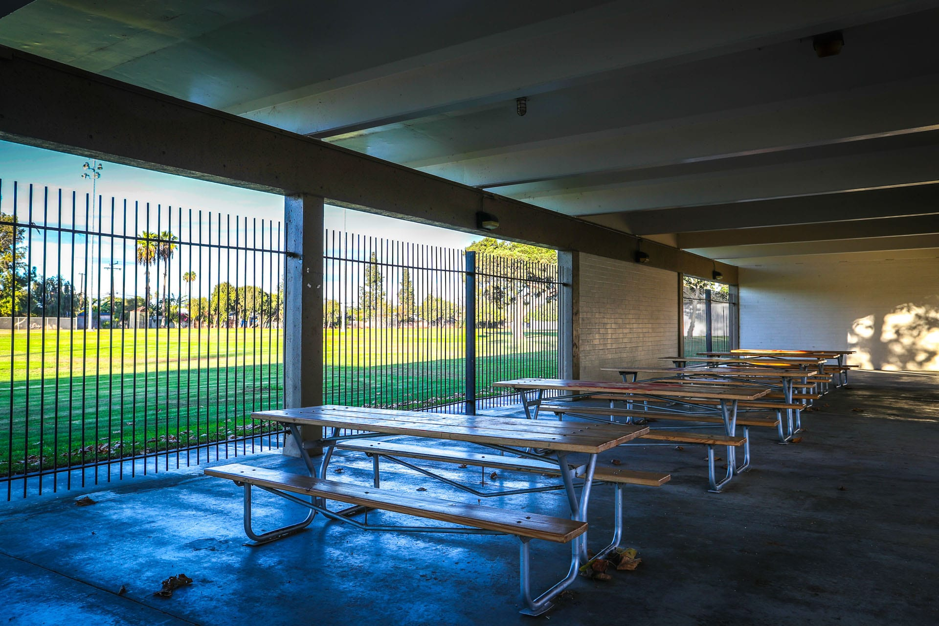 Sheltered picnic tables