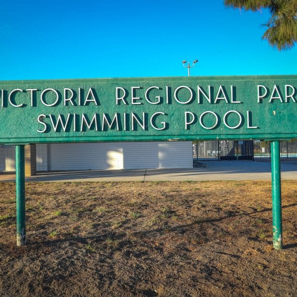 Victoria Regional Park Swimming Pool sign