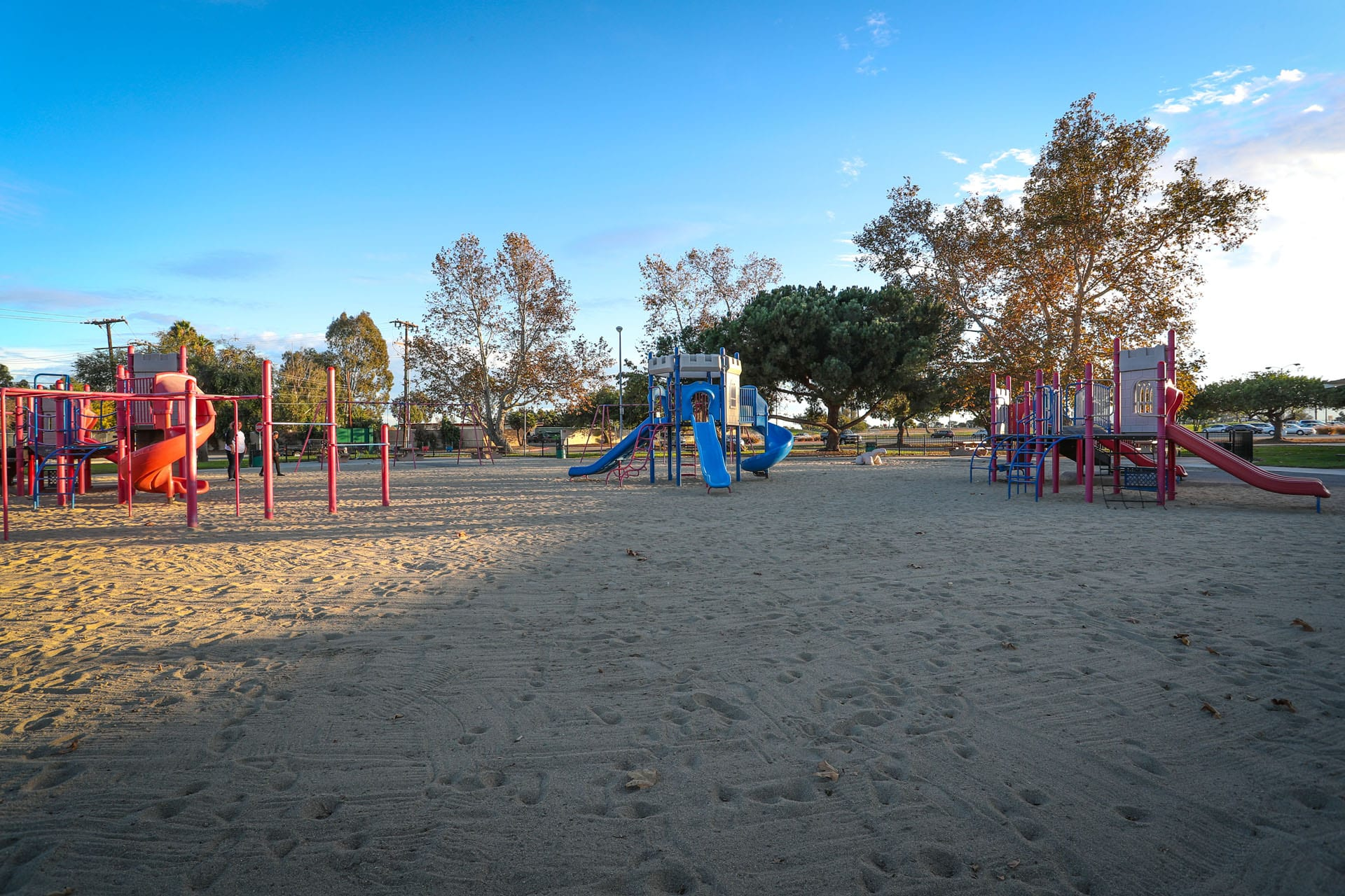 Jungle gym and playgrounds on a sand turf