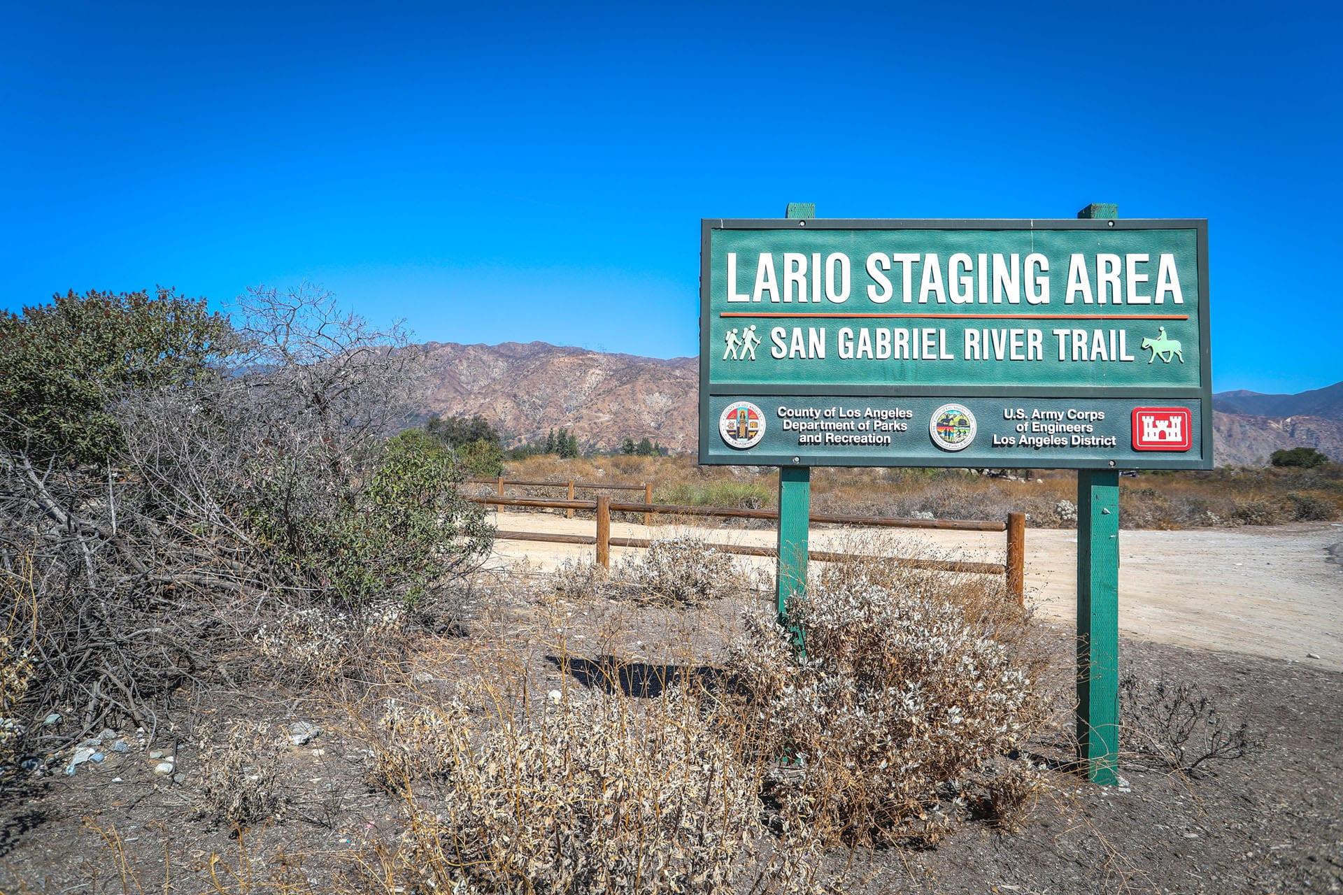 Lario Staging Area sign