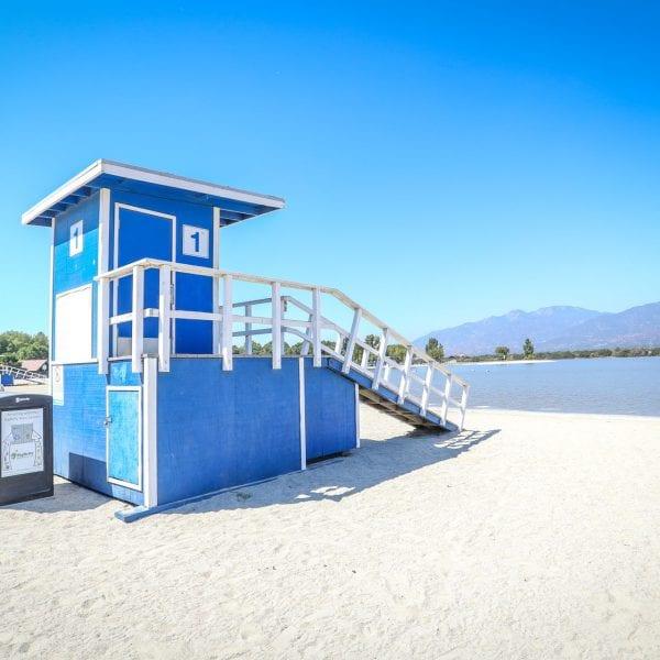 Lifeguard house and lake