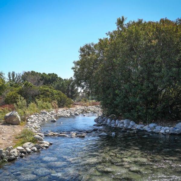 Natural-looking manmade river running through a garden