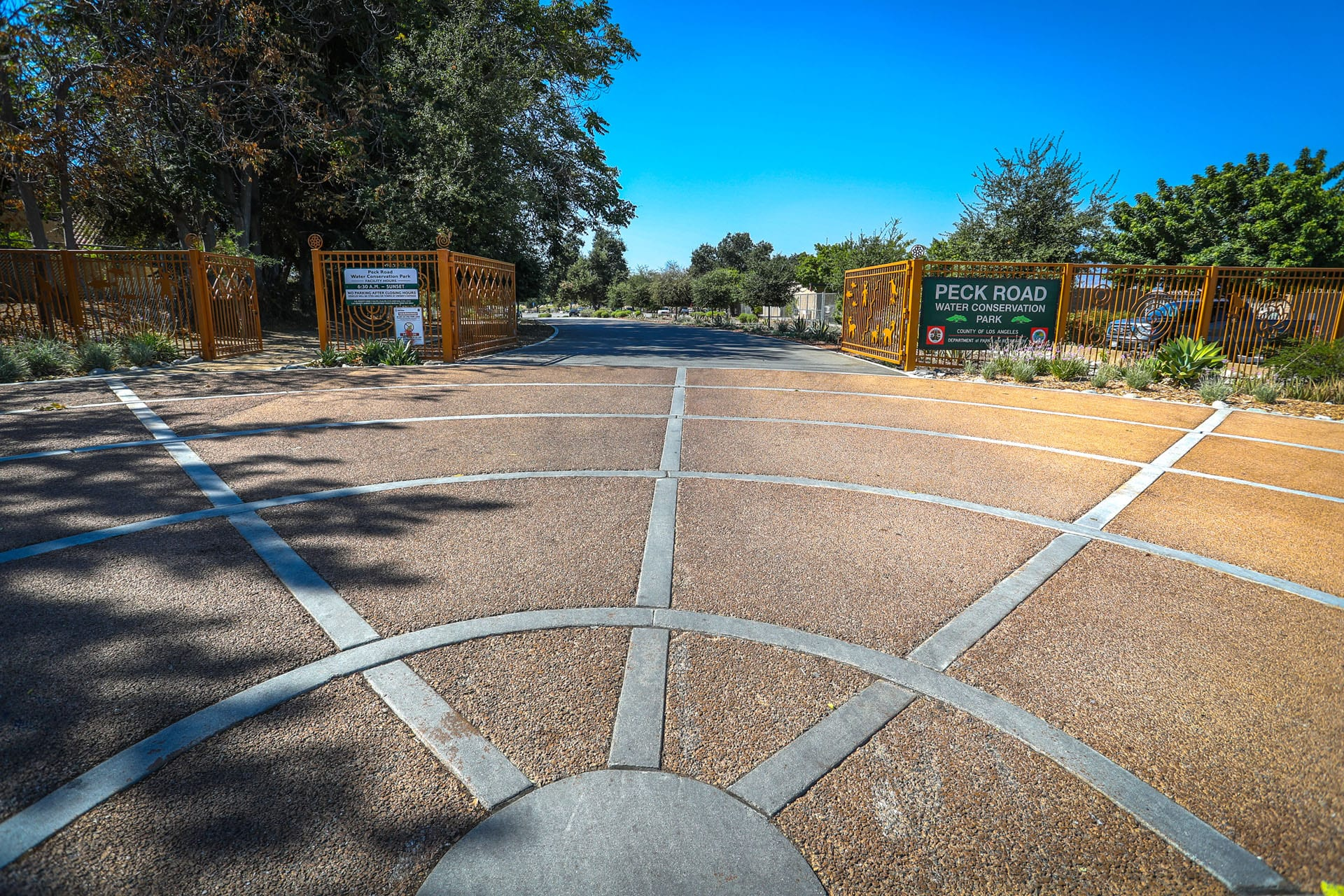 Elaborate pavement layout in front of gate entrance