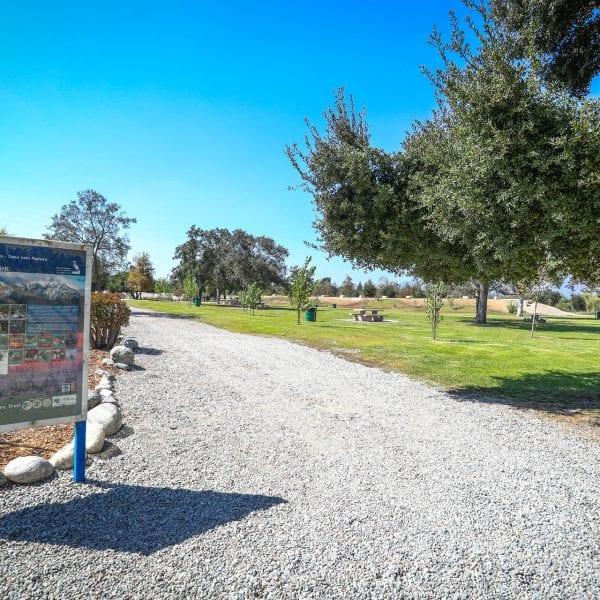 Gravel walkway through the park