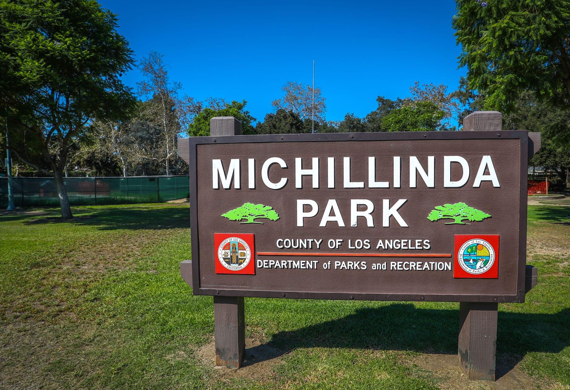 Michillinda Park sign in grass