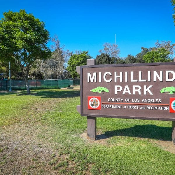 Michillinda Park sign with trees in the background