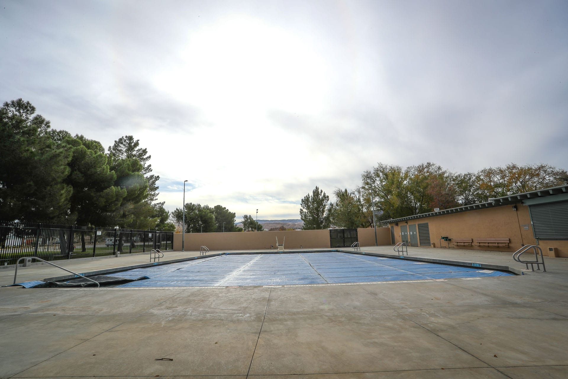 Outdoor pool, covered