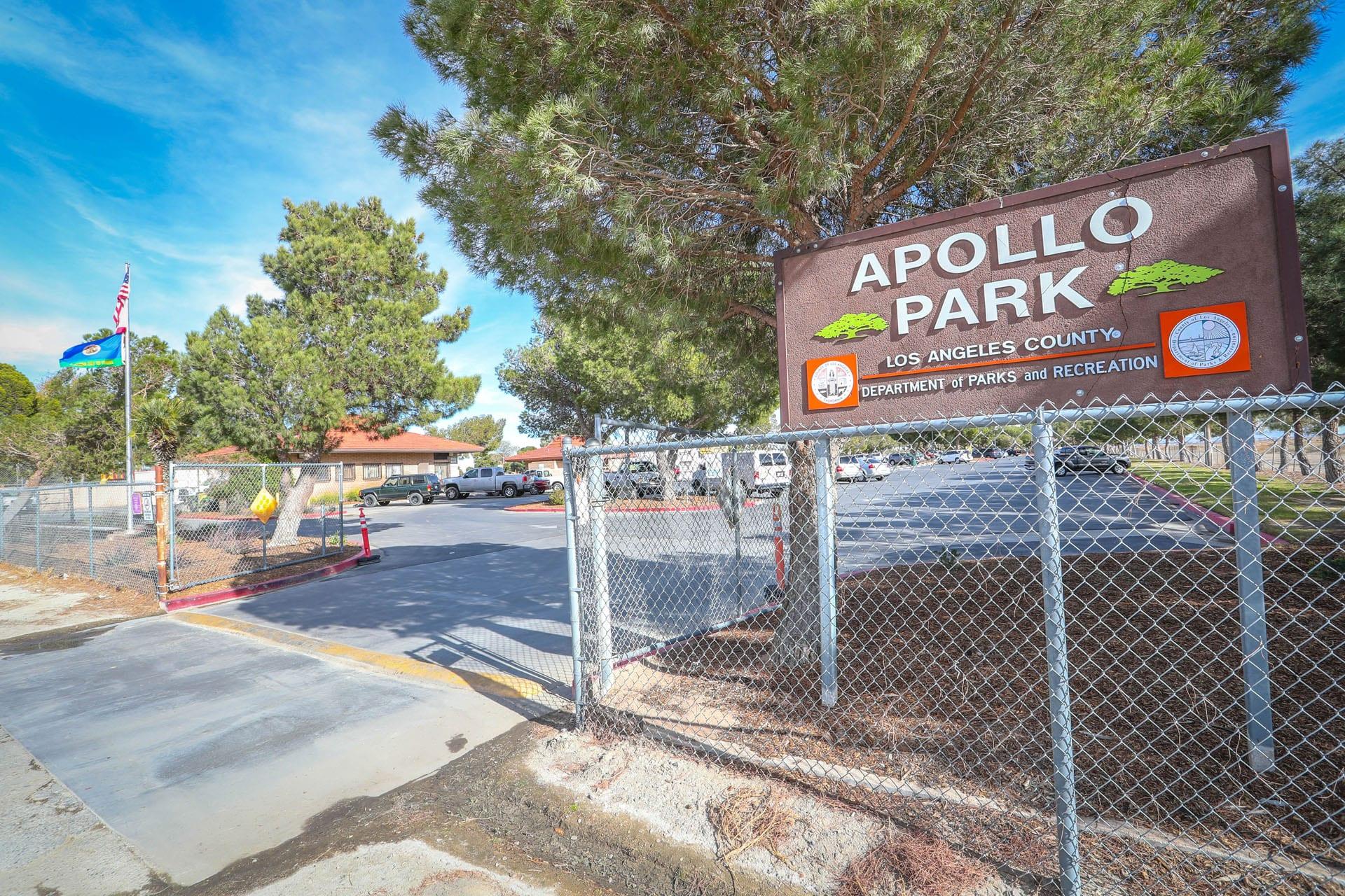 Apollo Community Regional Park sign