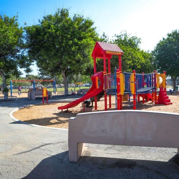 Bench near a playground