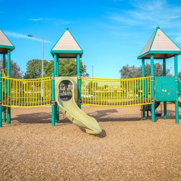 Playgrounds on a wood chip terrain