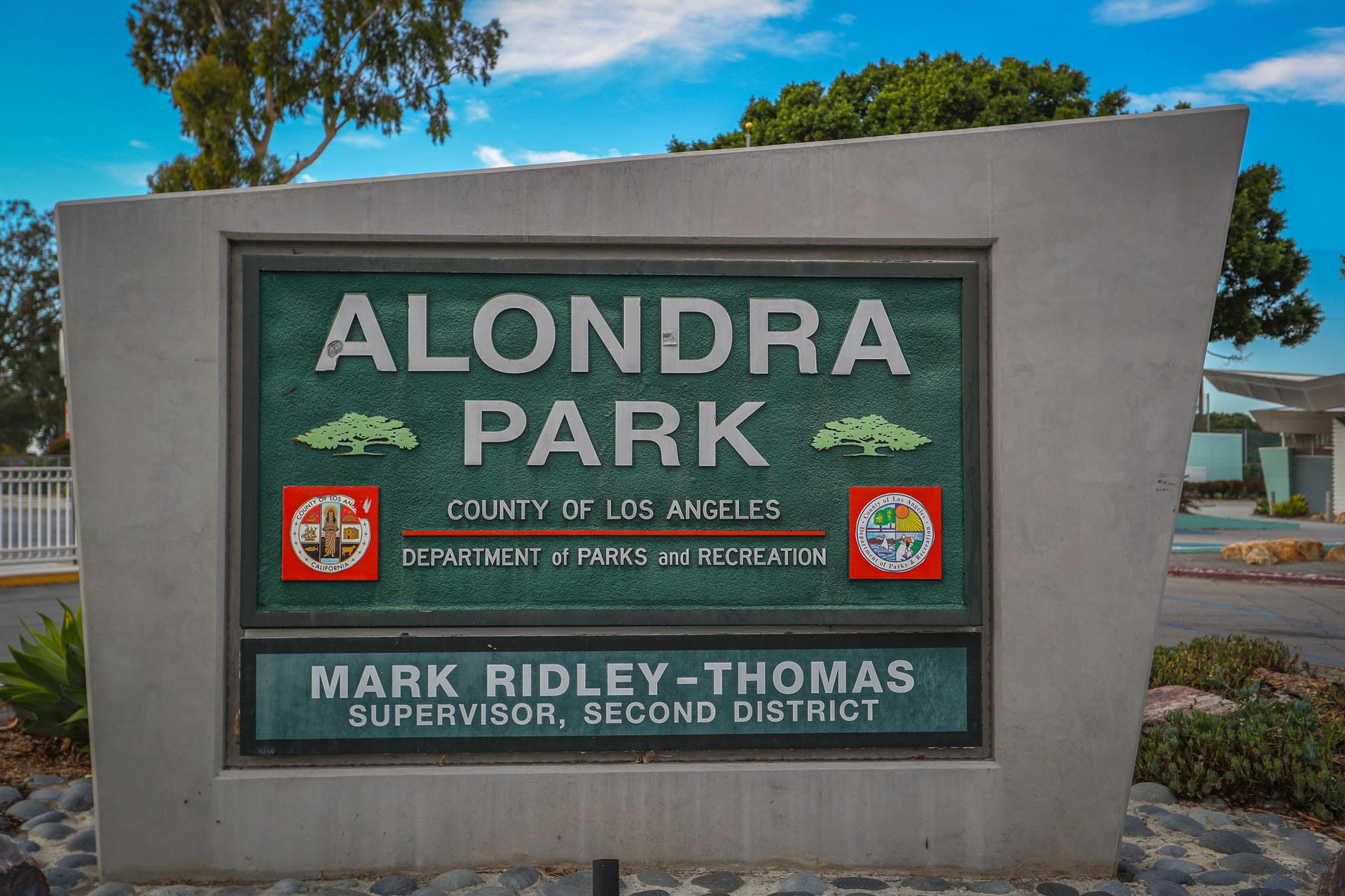 Alondra Community Regional Park sign