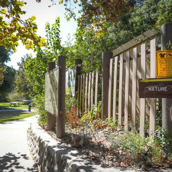 Nature Trail signs and paved path