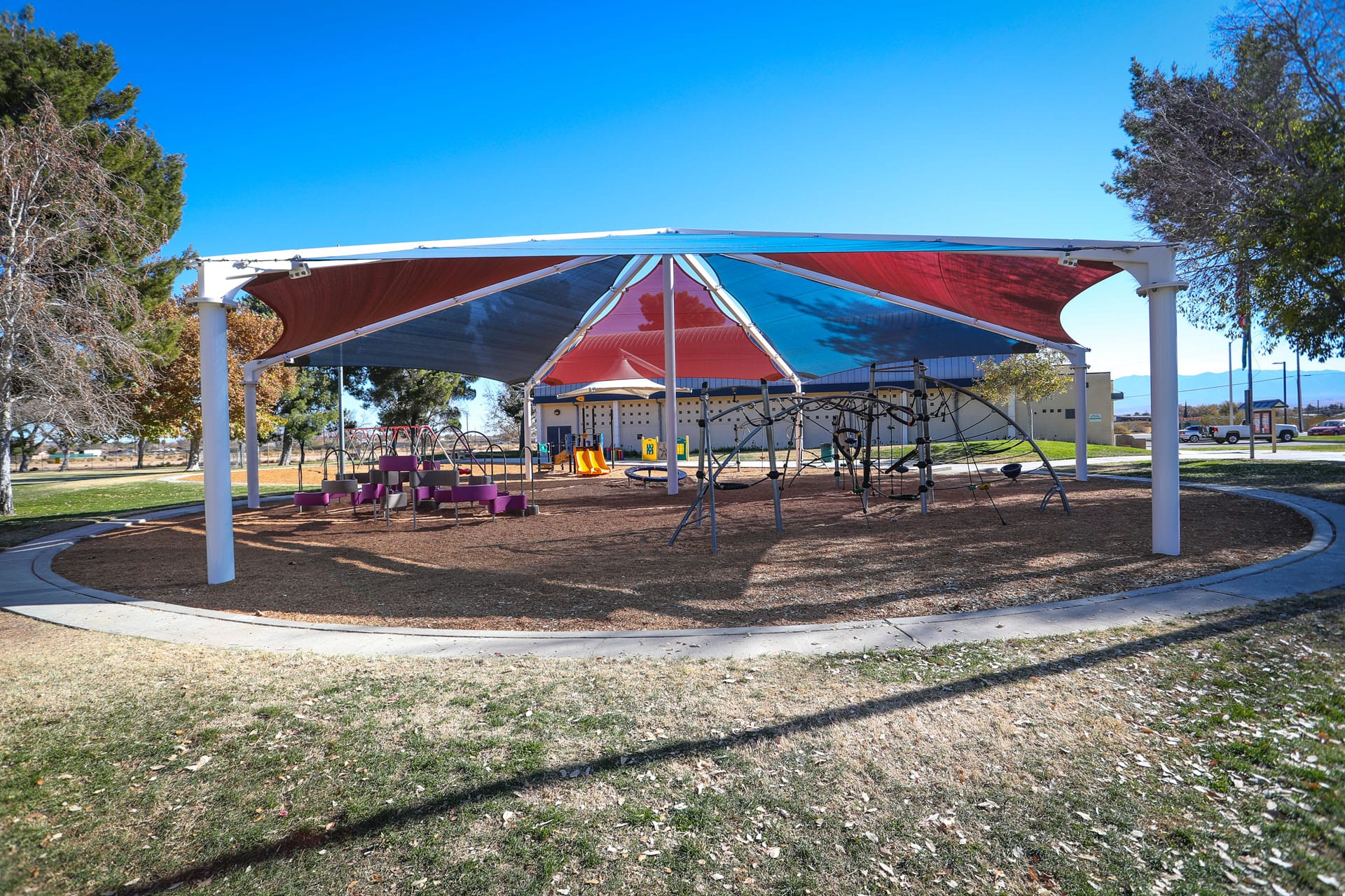 Outer view of tent covered playground