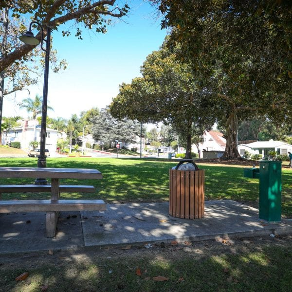 Picnic area shaded by trees