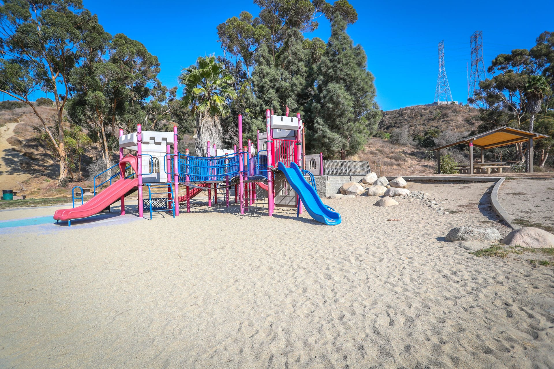 Playground on a sand bed