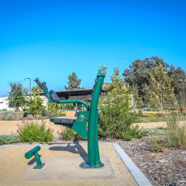 Exercise equipment in a garden area