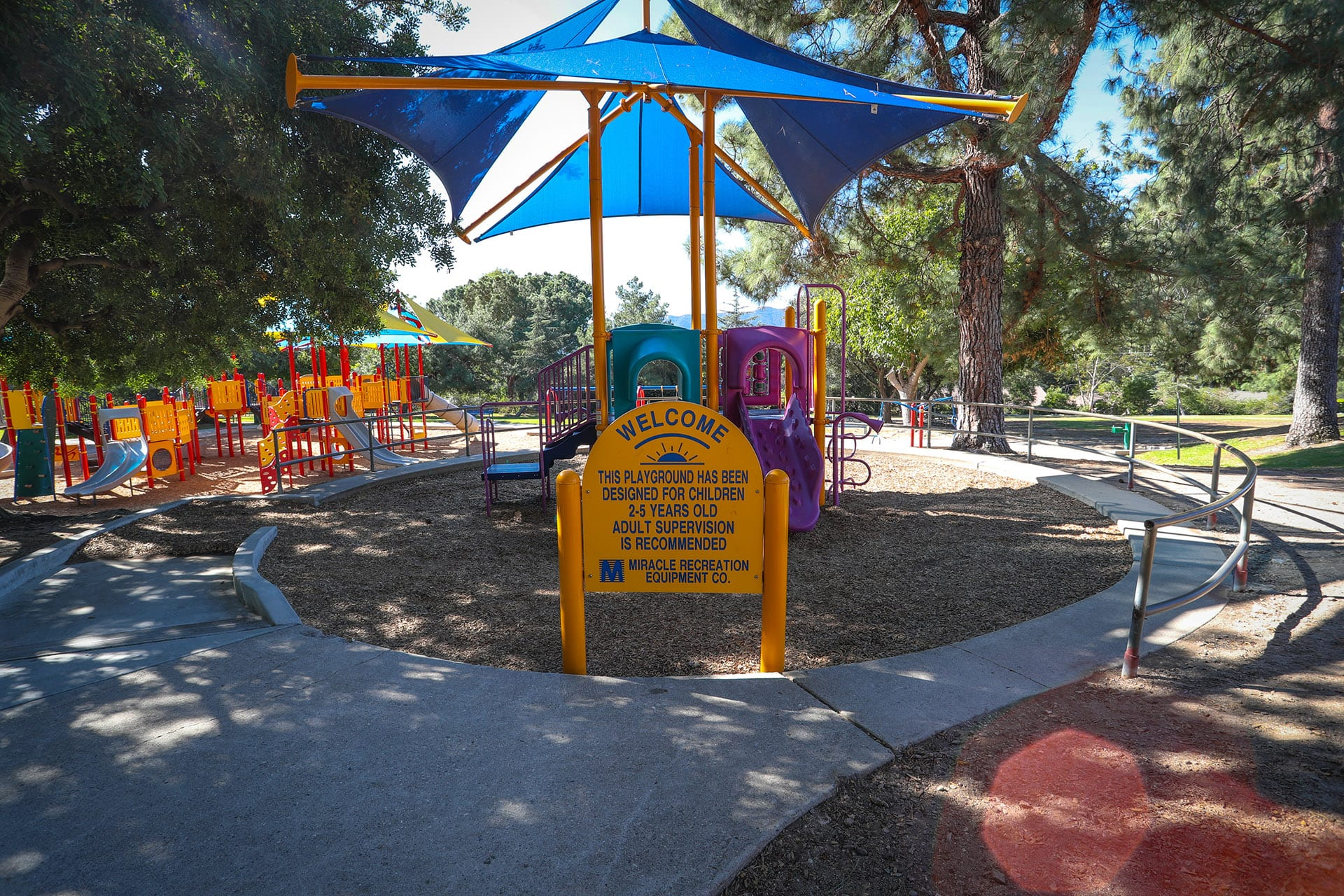 Welcome sign at playground