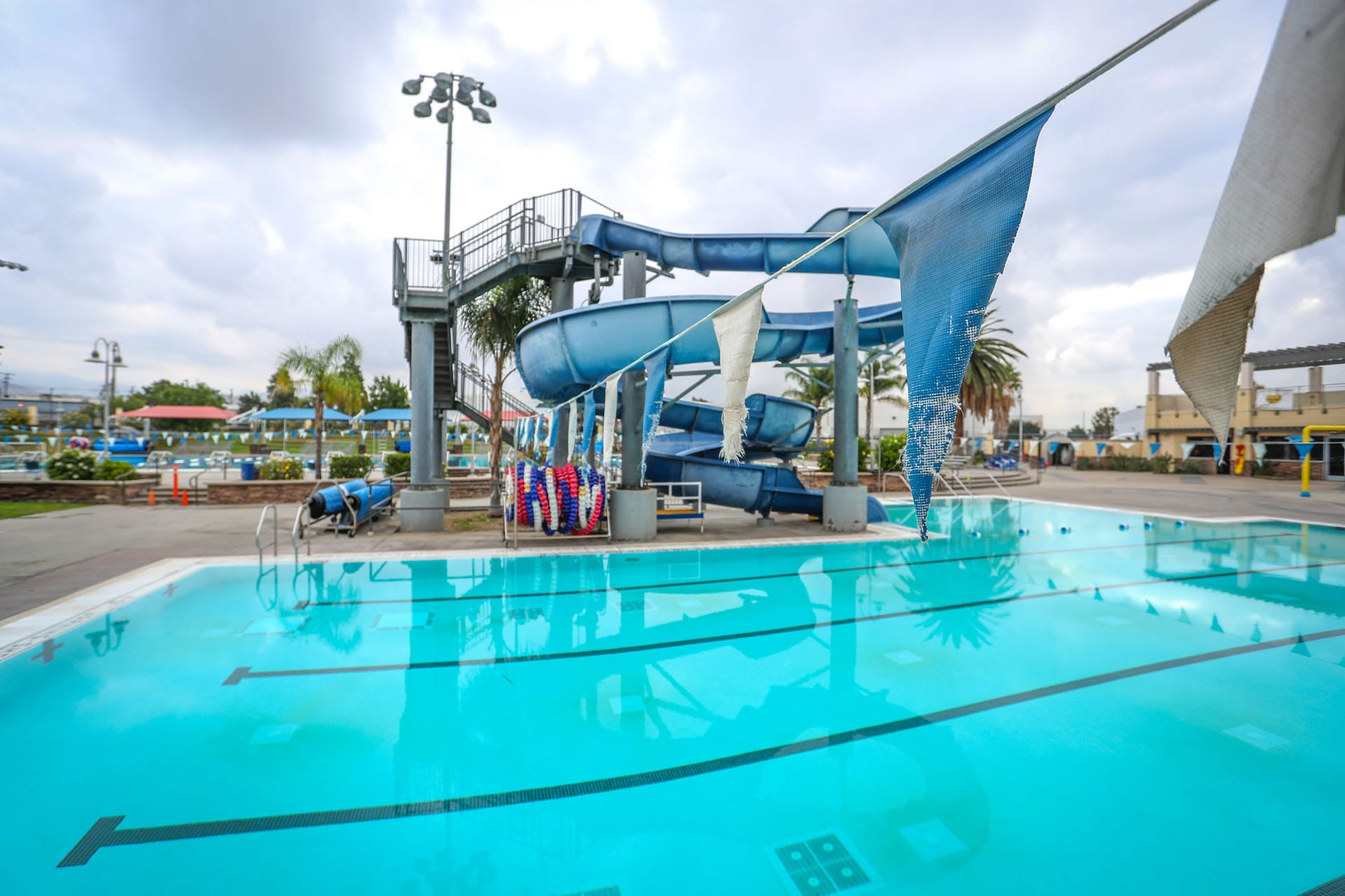 Pool with big water slide