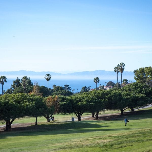 View of golf course and bay