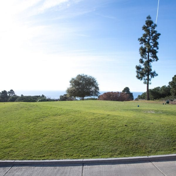 View of range and ocean from cart trail