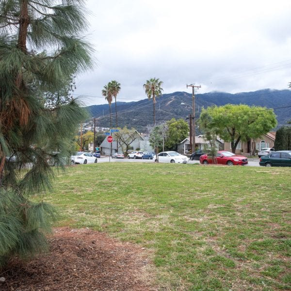 A small park, surrounded by cars