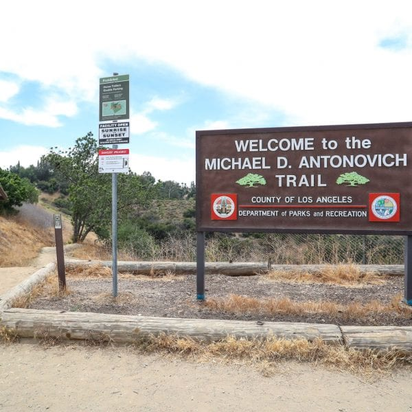 Welcome sign and trail head